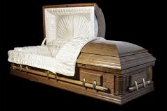 Эксклюзивный гроб/Элитный гроб двухкрышечный -DELAWARE (светлый орех, дуб) открытый