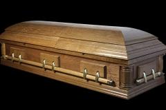 Эксклюзивный гроб/Элитный гроб двухкрышечный -DELAWARE (светлый орех, дуб)