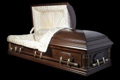 Эксклюзивный гроб/Элитный гроб двухкрышечный -DELAWARE (темный орех, дуб) открытый
