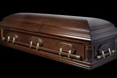 Эксклюзивный гроб/Элитный гроб двухкрышечный -DELAWARE (темный орех, дуб)