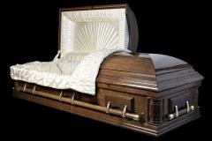 Эксклюзивный гроб/Элитный гроб двухкрышечный -VICTORIA (темный орех, дуб) открытый