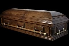 Эксклюзивный гроб/Элитный гроб двухкрышечный -VICTORIA (темный орех, дуб)